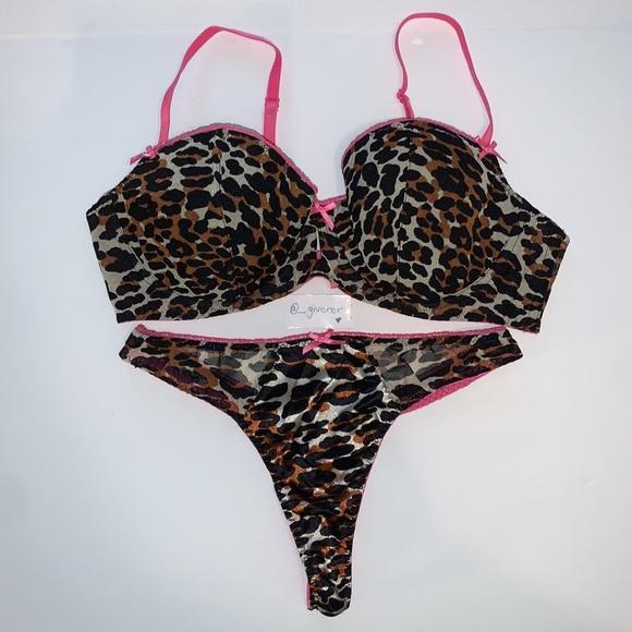 VS X Betsey Johnson Pink Leopard 36 C / S Bra Set